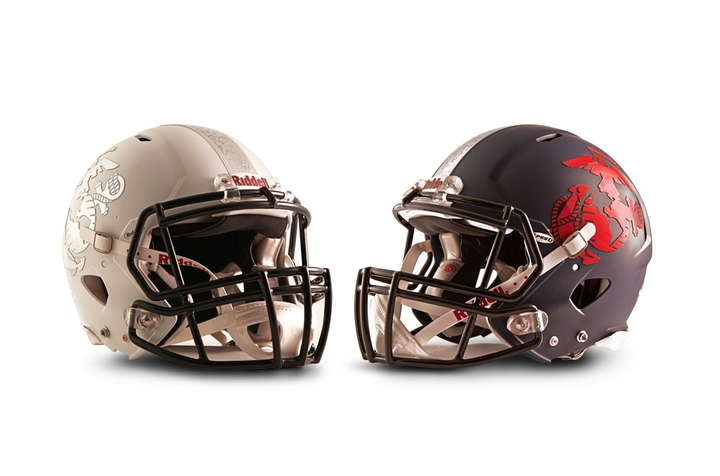 East and West Riddell Revolution Speed helmets for the 2013 Semper Fidelis All-American Bowl
