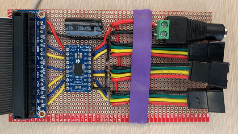 home-made circuit board with lots of colorful wires