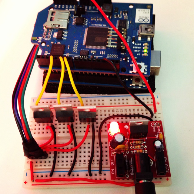 Arduino and protoboard with wires connected