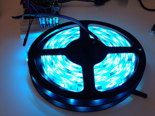 reel of led strip lights glowing