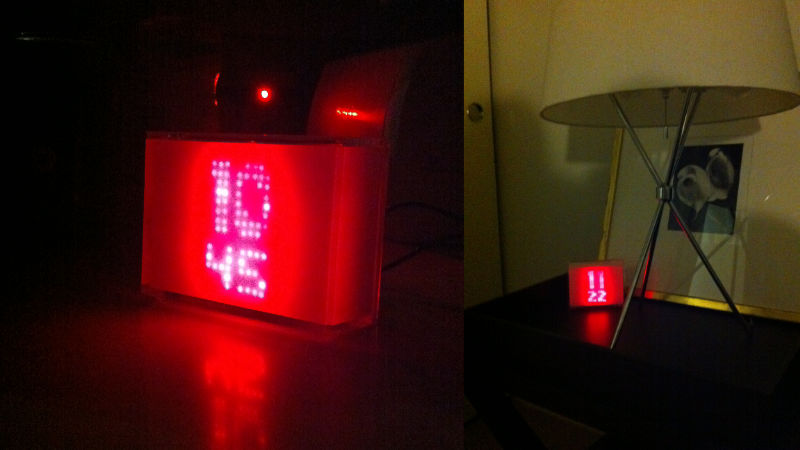 red glowing led matrix clock in white plastic case