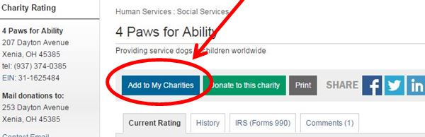 my charities screenshot