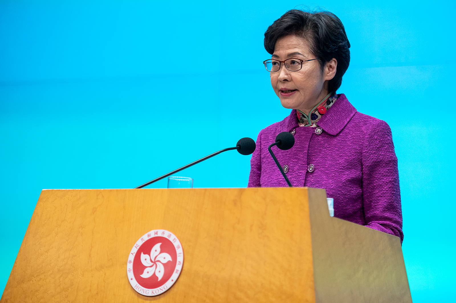 Hong Kong leader Carrie Lam is getting paid in cash because banks won't deal with her