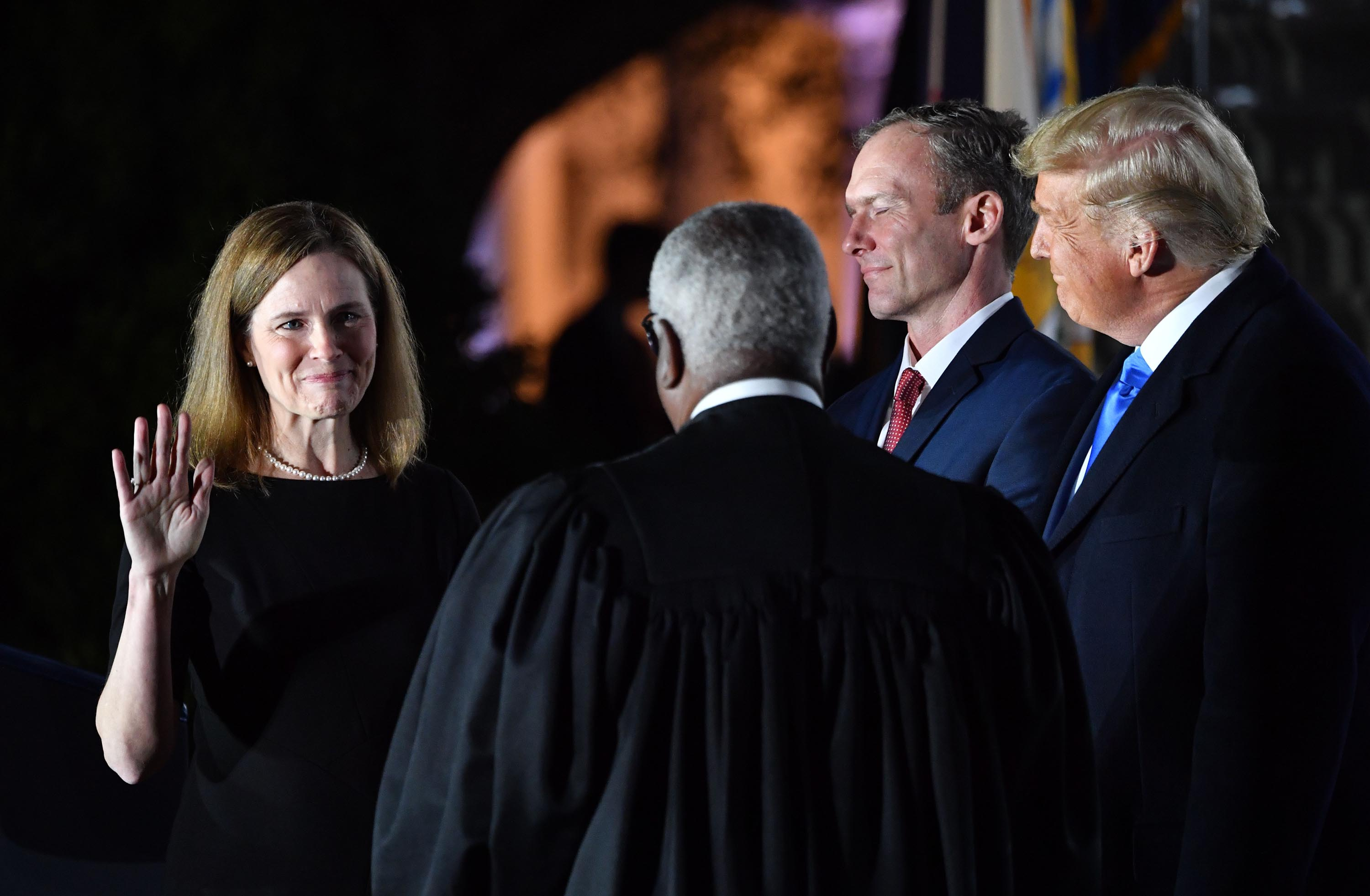 Justice Amy Coney Barrett's confirmation triggers a prime time celebration by the GOP