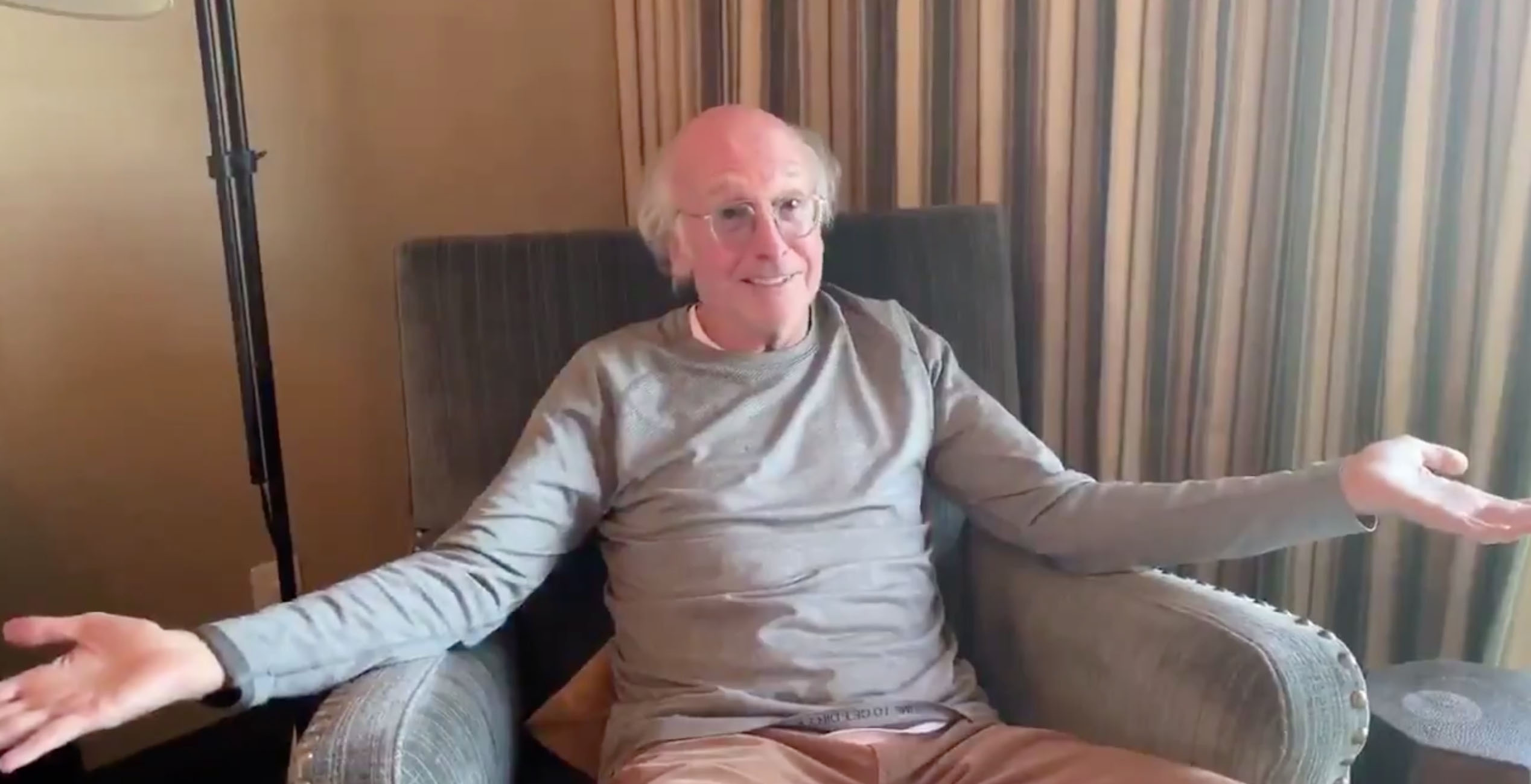 Larry David asks 'the idiots out there' to stay home and watch TV in crabby coronavirus PSA
