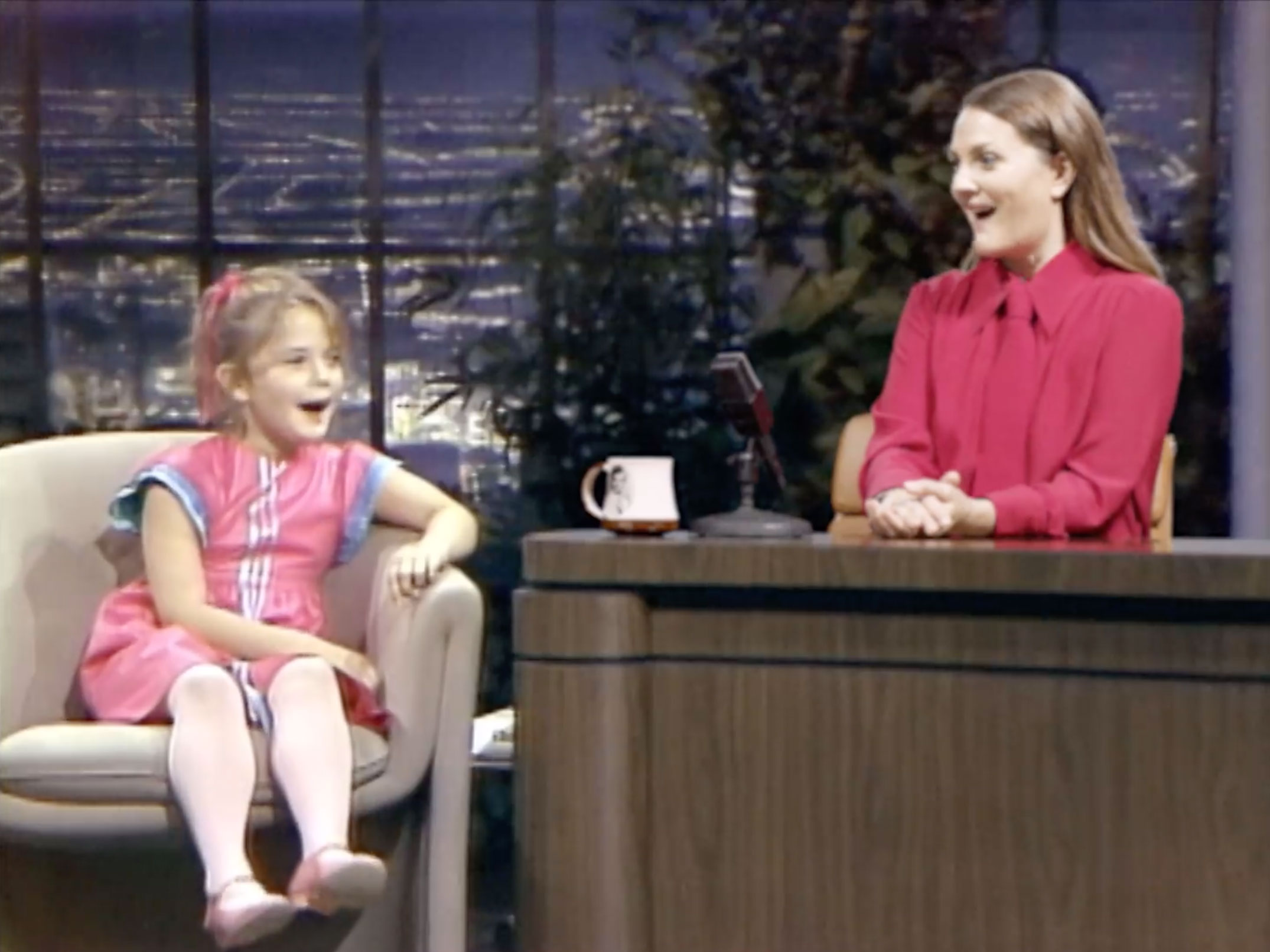 Drew Barrymore interviews her 7-year-old self in promo for her new talk show