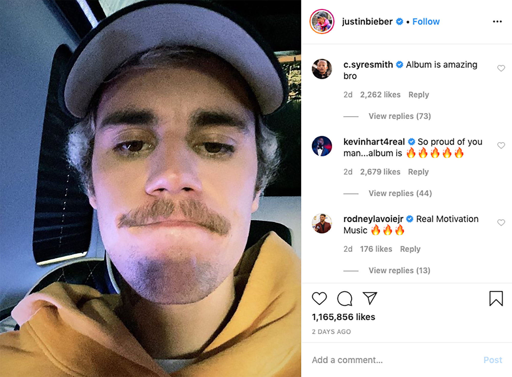 Justin Bieber shaved his mustache to the delight of his wife and Beliebers