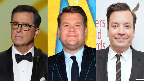 Image for Stephen Colbert, James Corden and Jimmy Fallon head back to studios with caution
