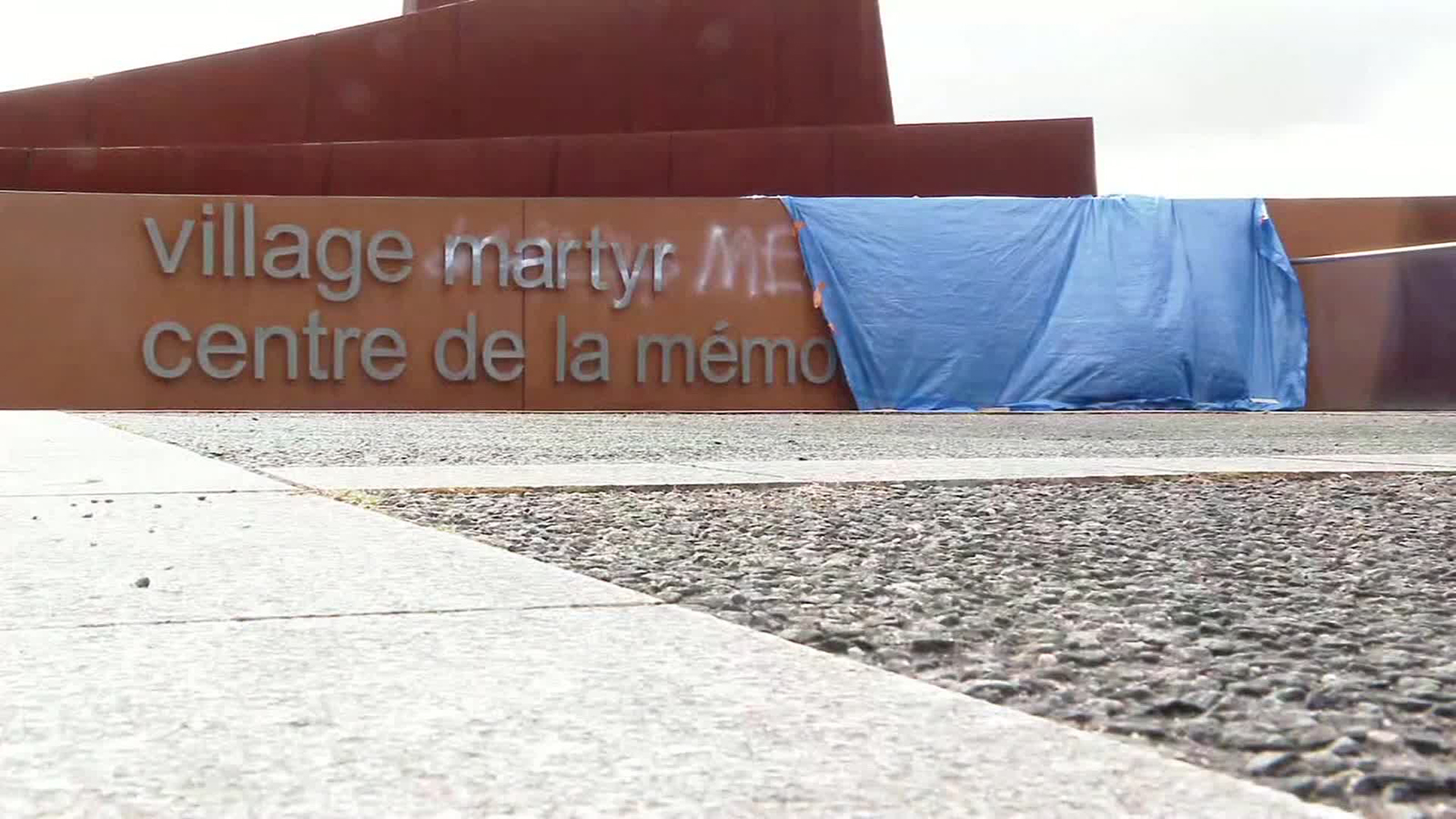 Graffiti denying the Holocaust was found at a massacre site in France