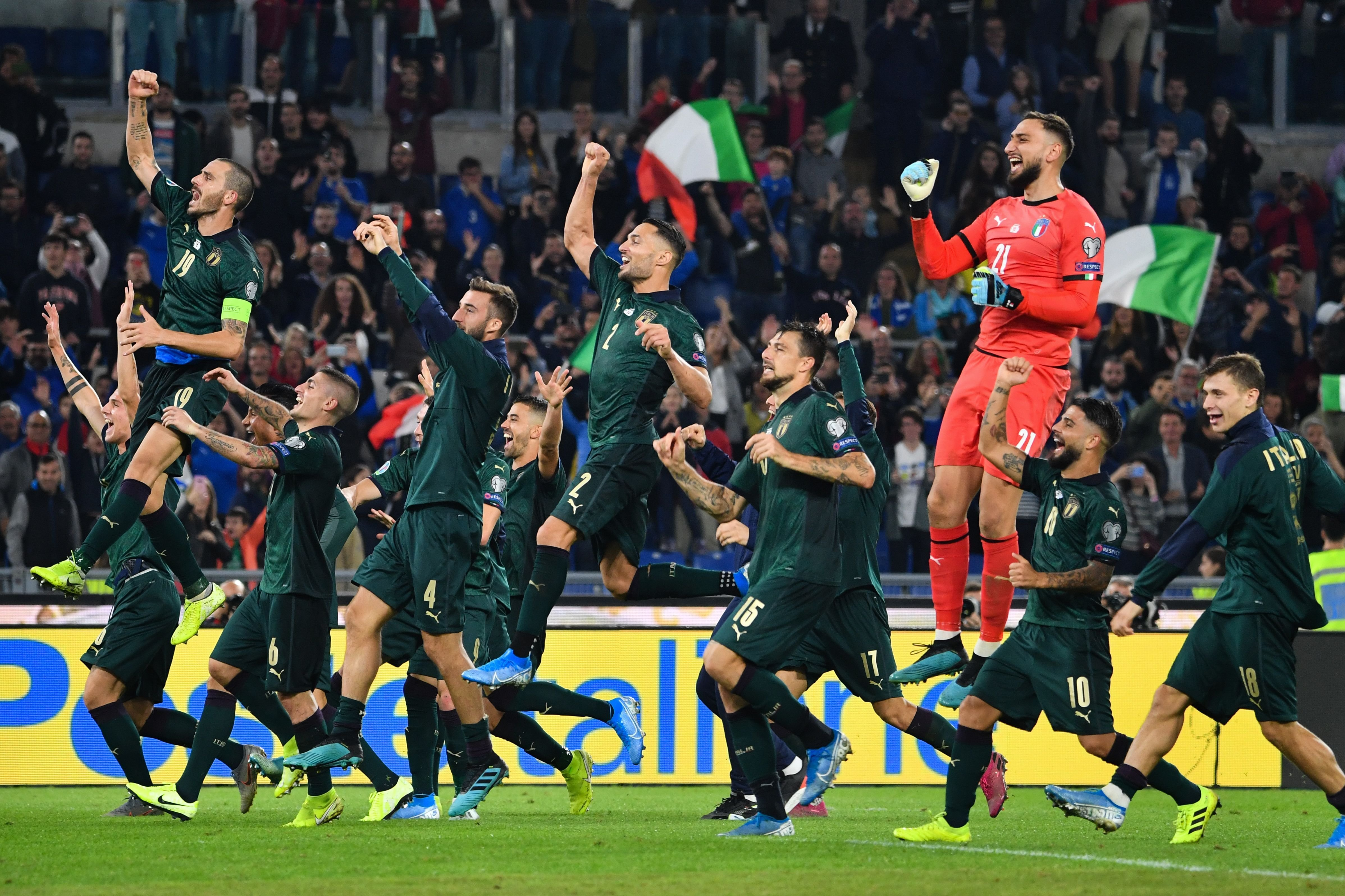 Italy's Azzurri, wearing green, qualify for Euro 2020