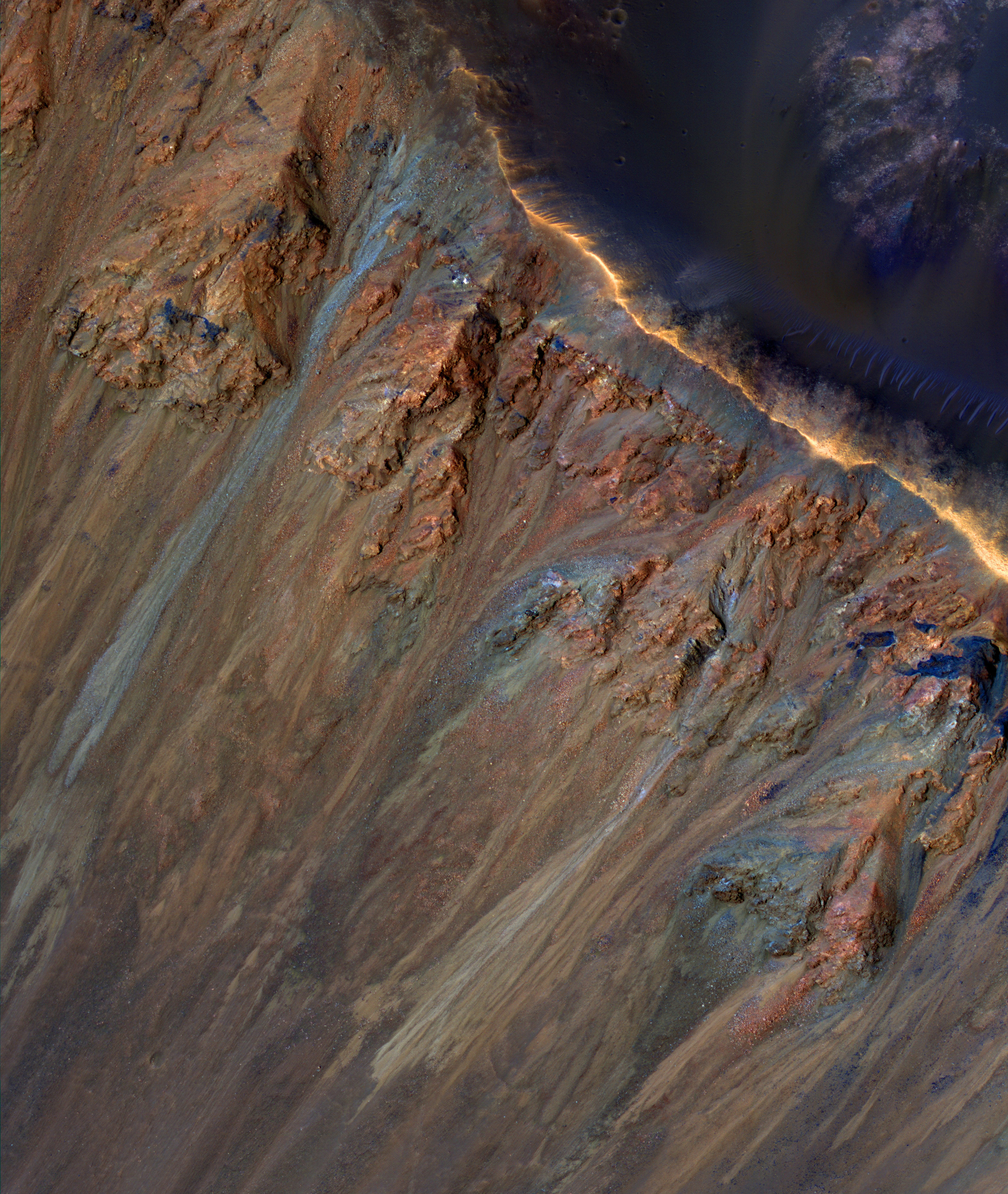 Martian landslides may be caused by melting ice and salt under the surface