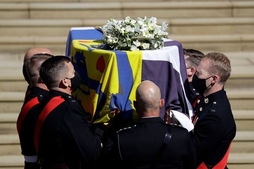Image for Queen Elizabeth Bids Farewell to Prince Philip at Intimate Funeral
