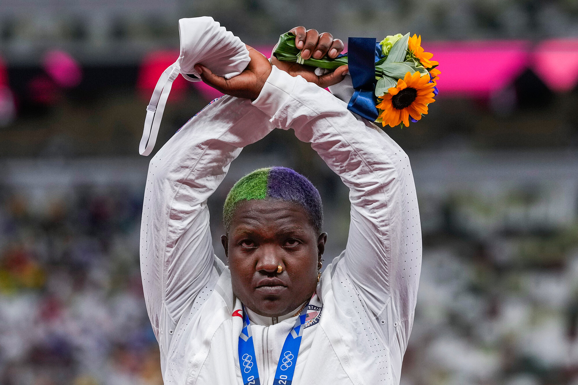 International Olympic Committee suspends its action on Raven Saunders' podium protest after her mother's death