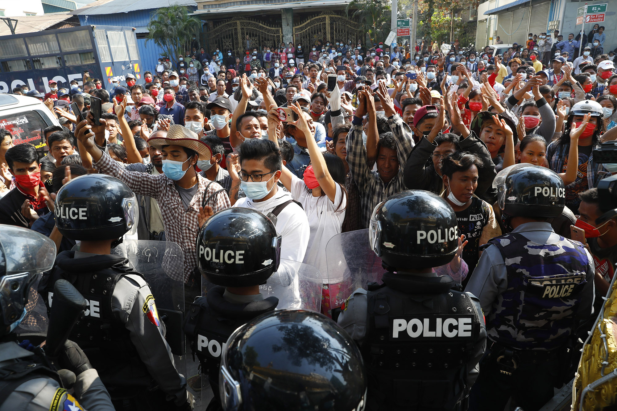 As armored military vehicles roll onto Myanmar's streets, protesters return for 10th day