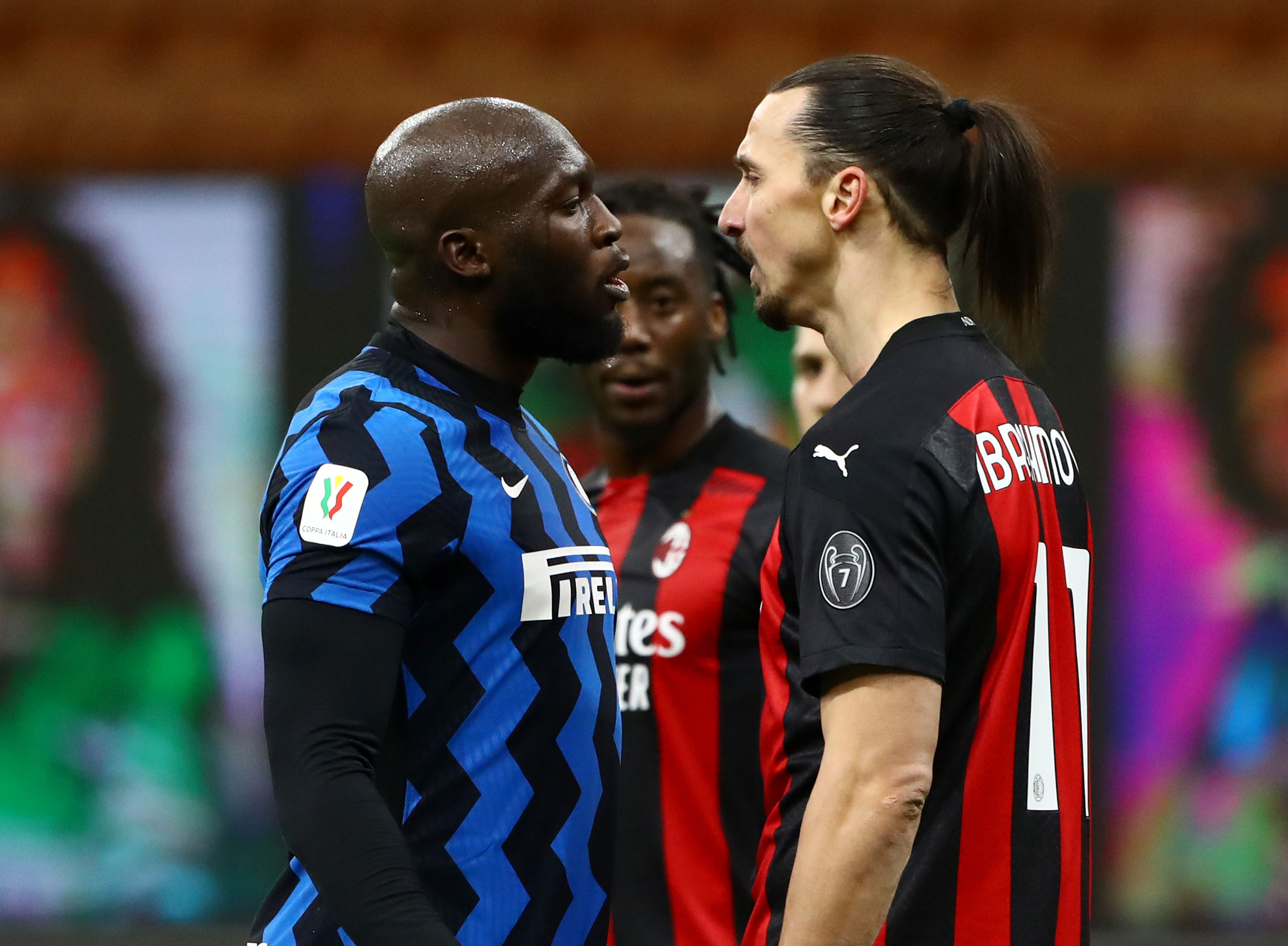 Zlatan Ibrahimovic scores, clashes with Romelu Lukaku and gets red card in fiery Milan derby