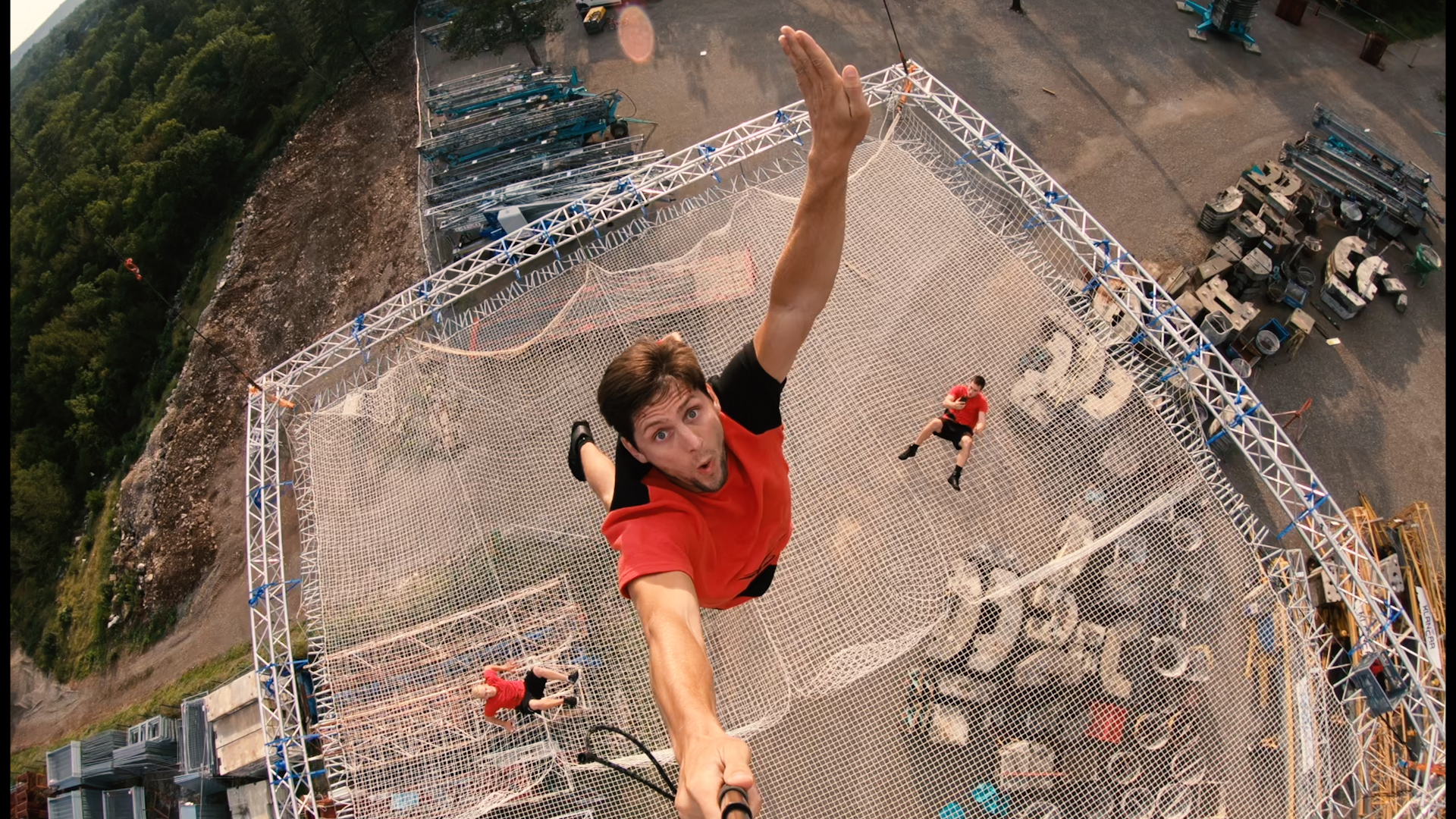 Acrobatic daredevils perform on world's largest trampoline