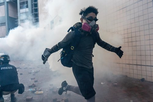 Image for Protesters try to escape Hong Kong university after violent all-night clashes with police