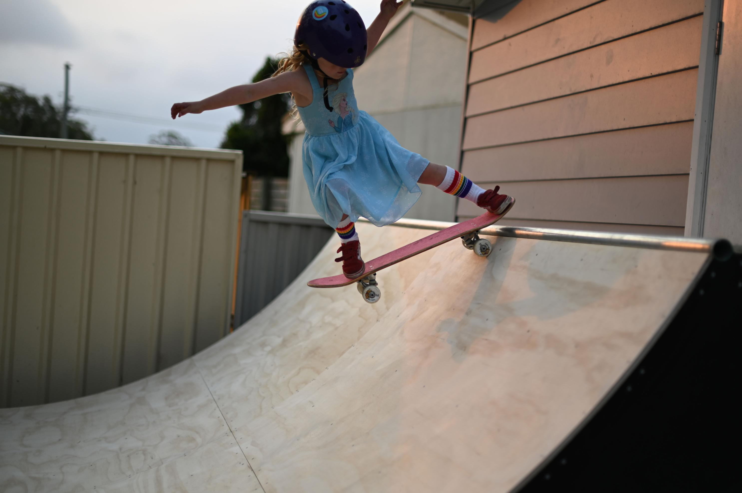 The world's next skateboard star is a 6-year-old Australian girl riding ramps double her size