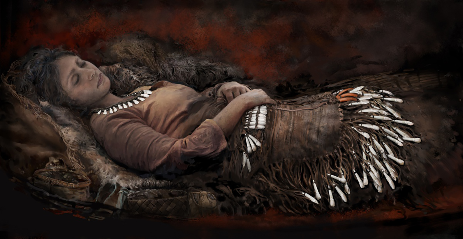 Burial ground reveals Stone Age people wore clothing covered in elk teeth