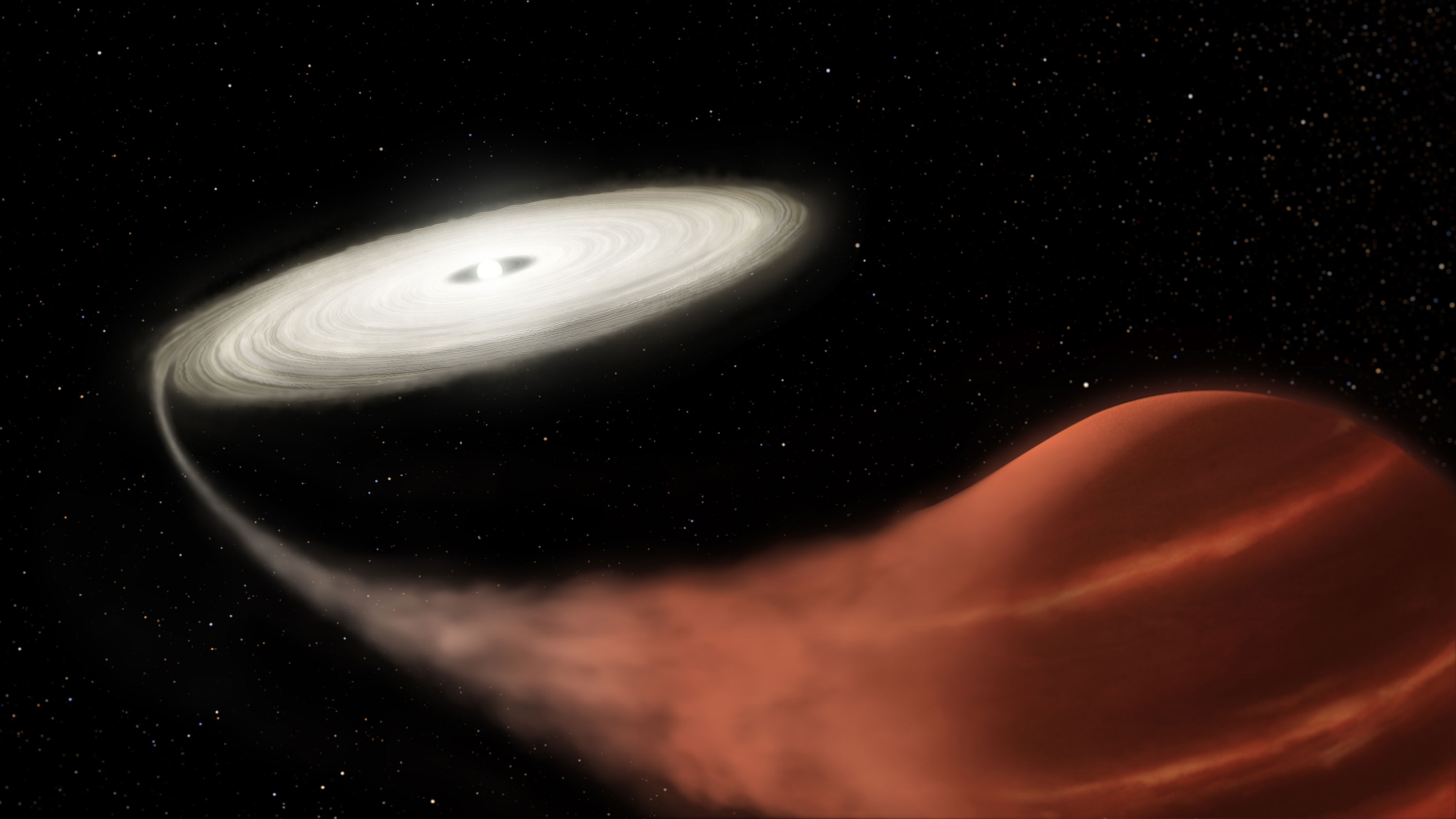 Vampire star system shows one star gorging on another