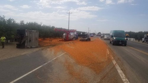 Carrots spilled onto highway after big rig crash