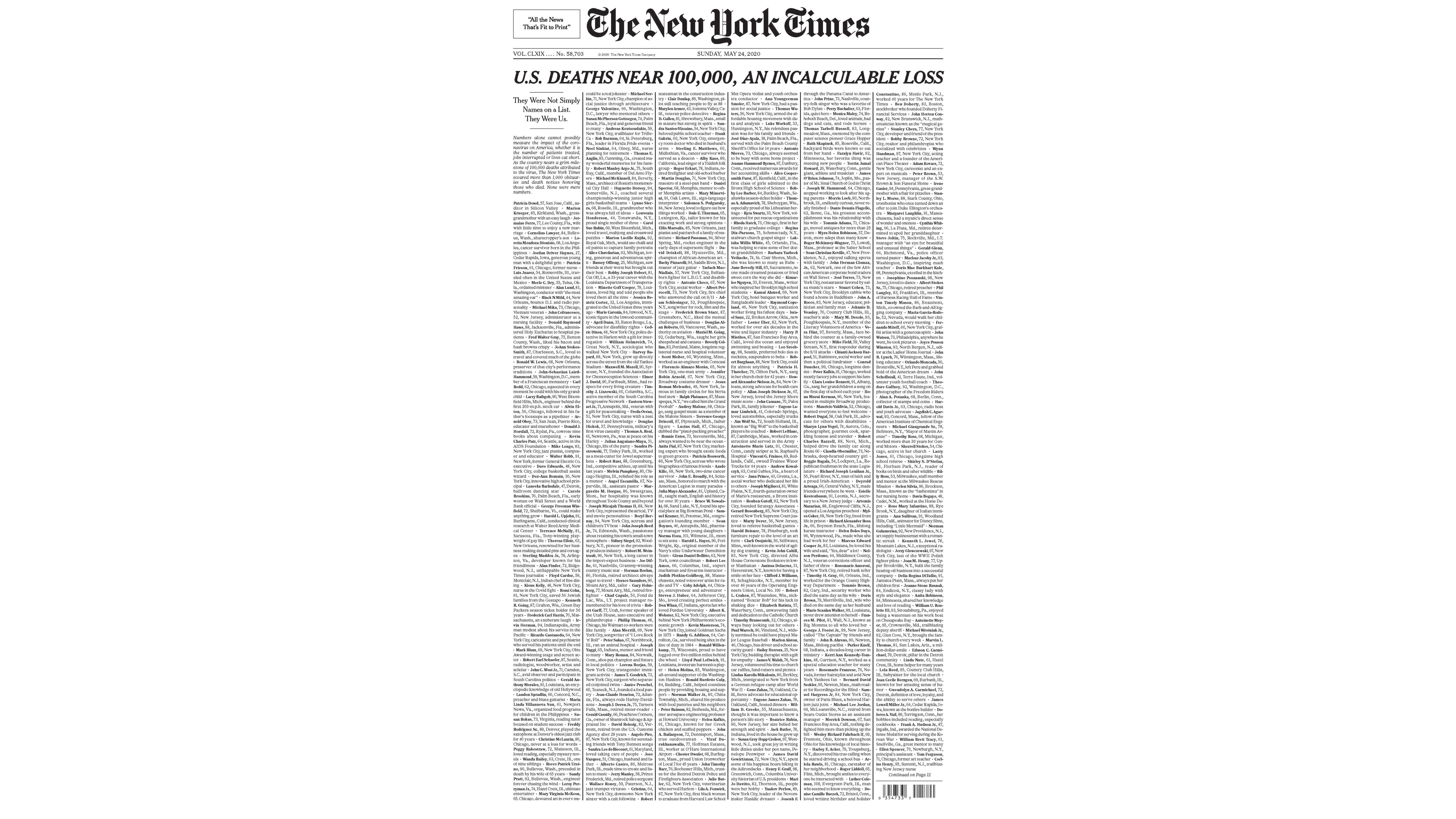 New York Times publishes names of 1,000 lives lost to coronavirus