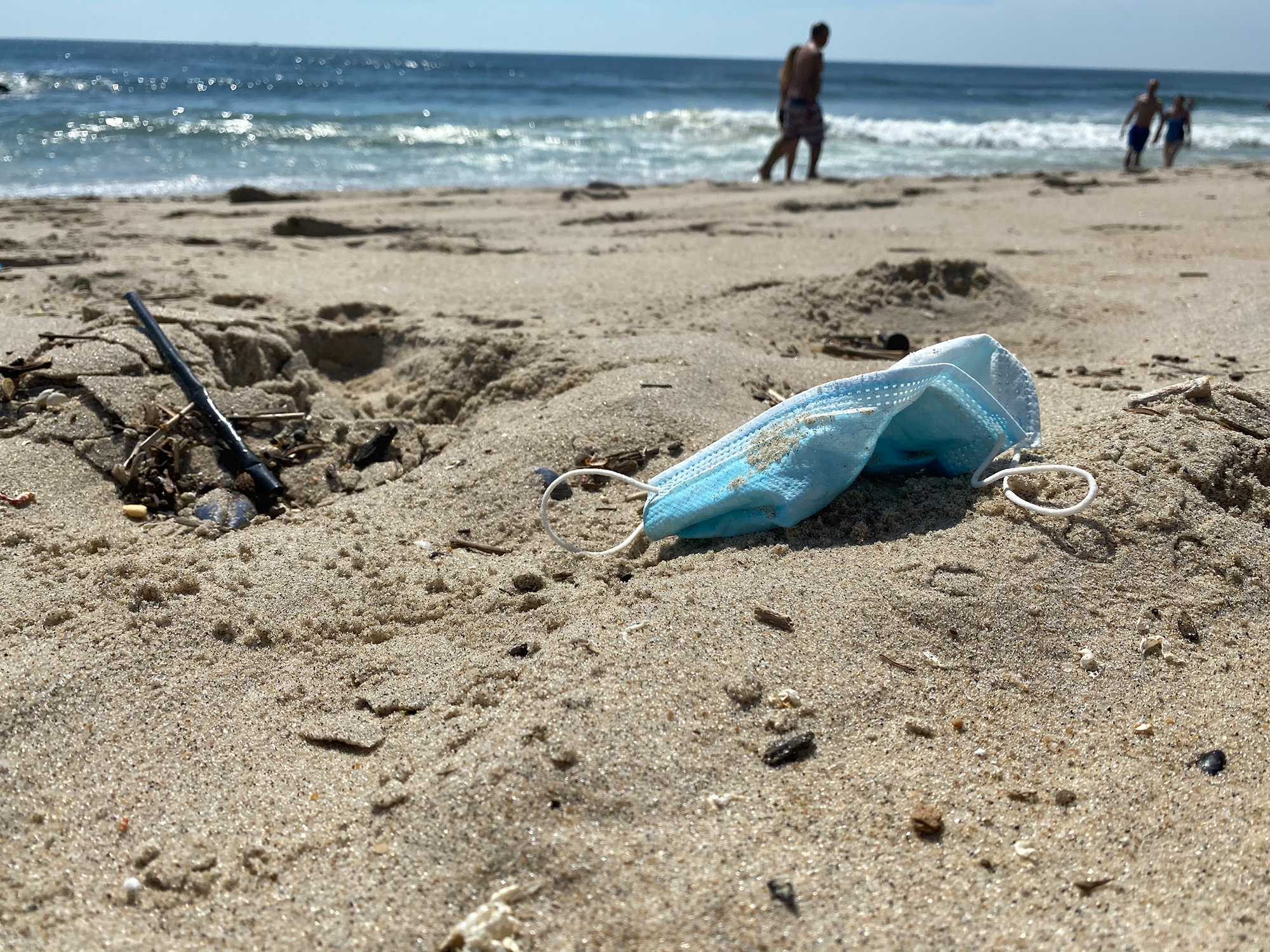 Used masks and gloves are showing up on beaches and in oceans