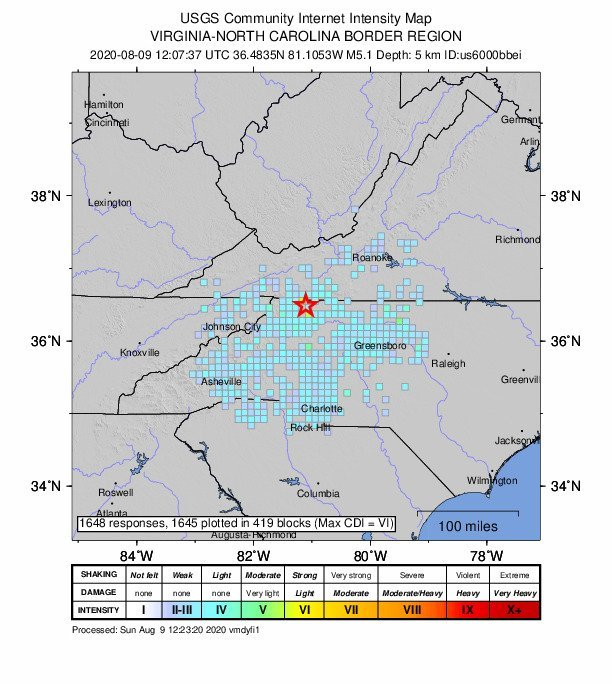 North Carolina's strongest earthquake in 94 years shakes area along Virginia border