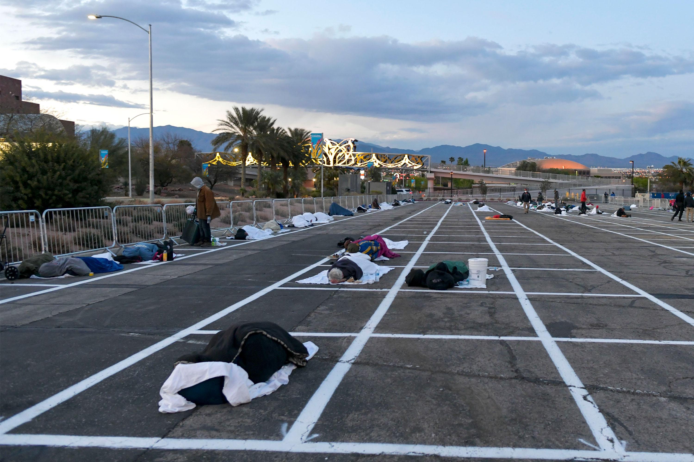 Las Vegas homeless people are sleeping in a parking lot — six feet apart