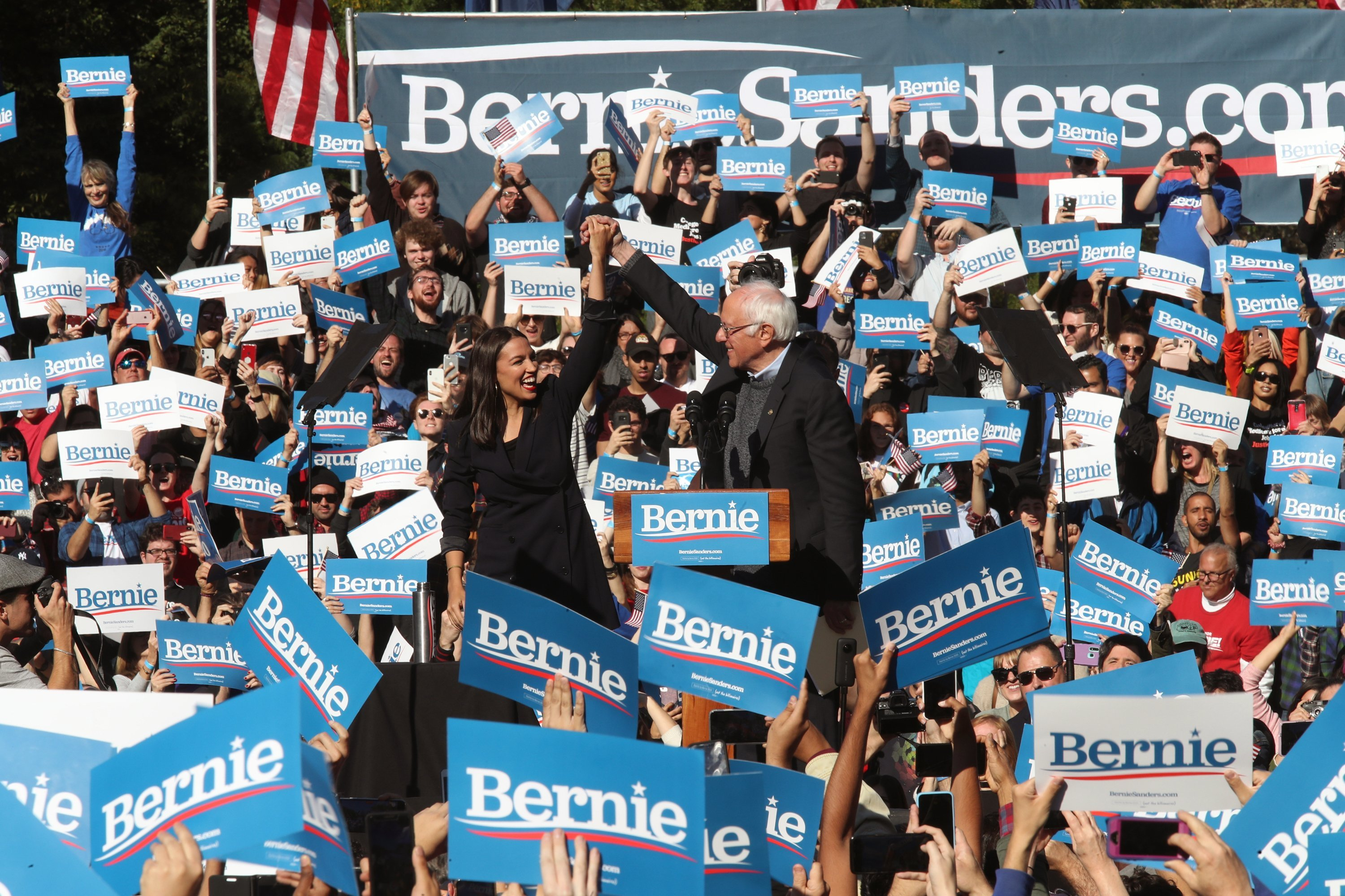 Alexandria Ocasio-Cortez endorses Bernie Sanders at his 'Bernie's Back' rally in New York