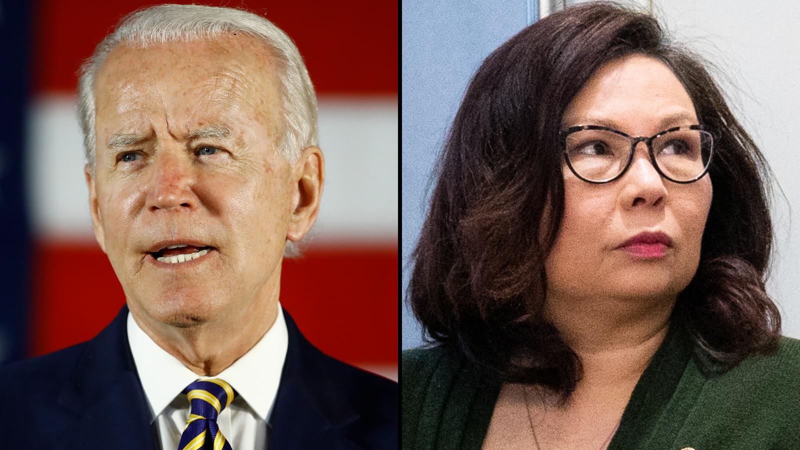Biden defends Duckworth amid attacks on her patriotism