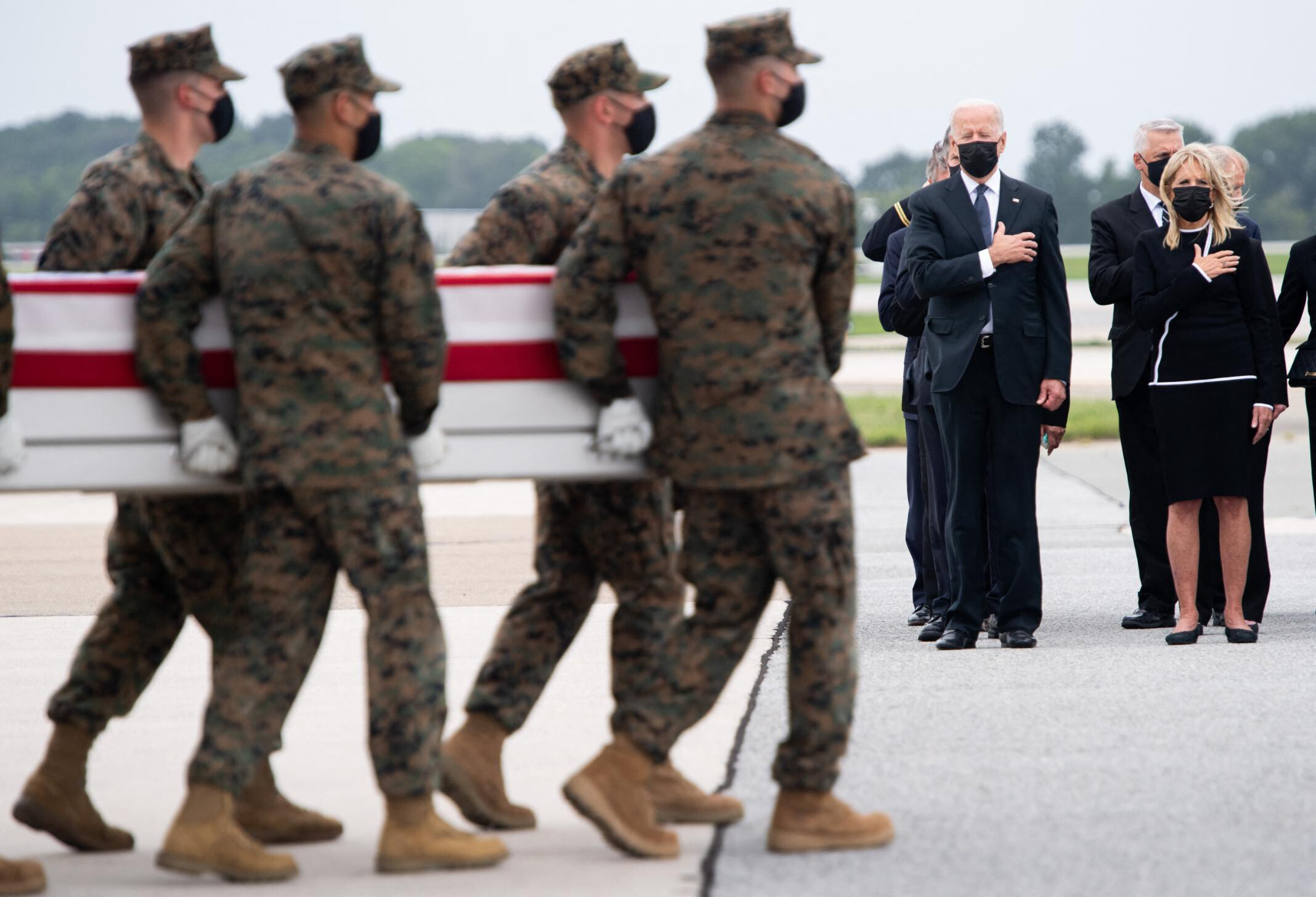 Fact check: Conservative tweeters falsely claim Biden didn't show up at Dover to honor troops' remains