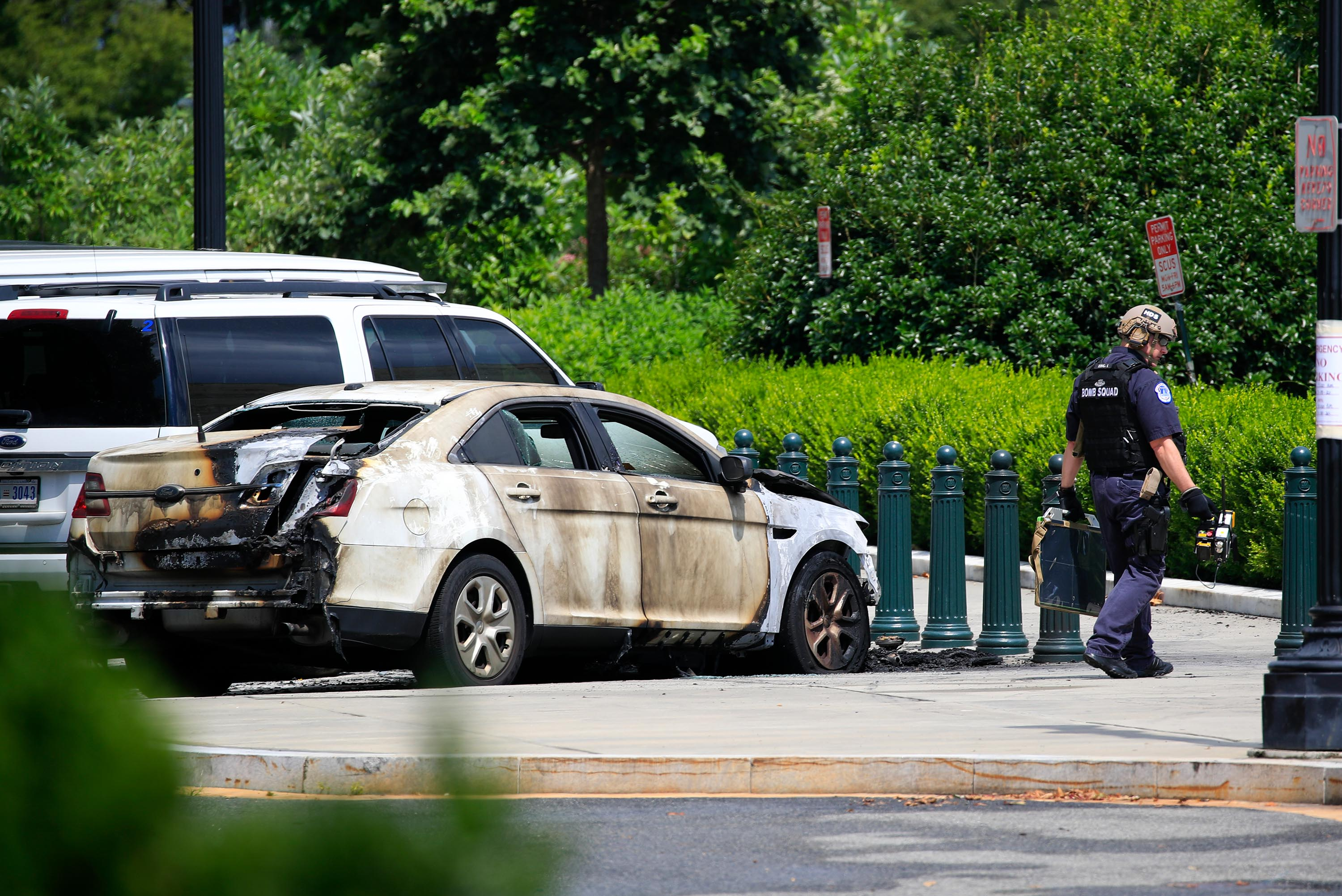 Man in custody after Supreme Court police vehicle set on fire