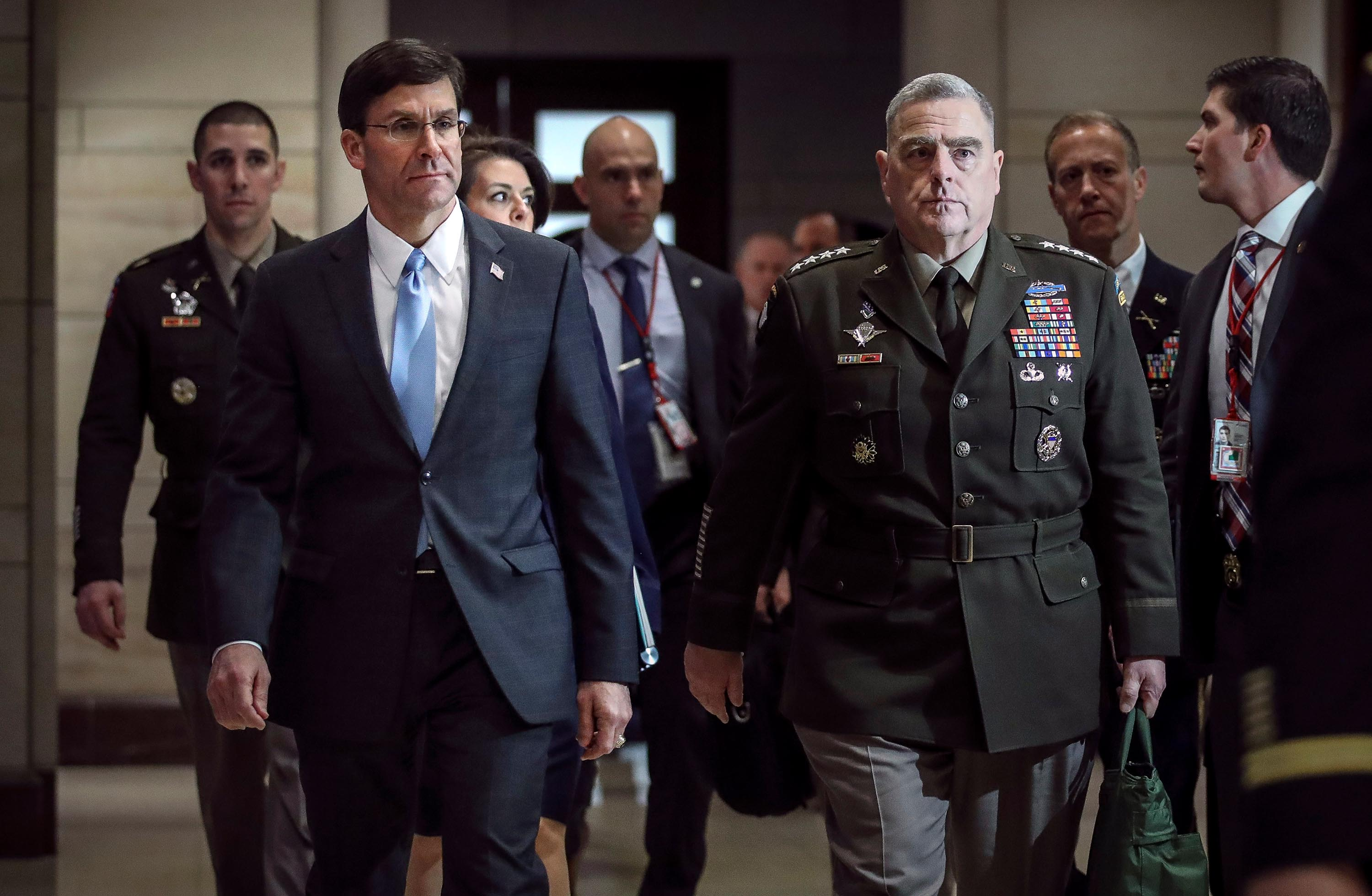 Esper and Milley refuse to testify about military's role in policing protests, source says