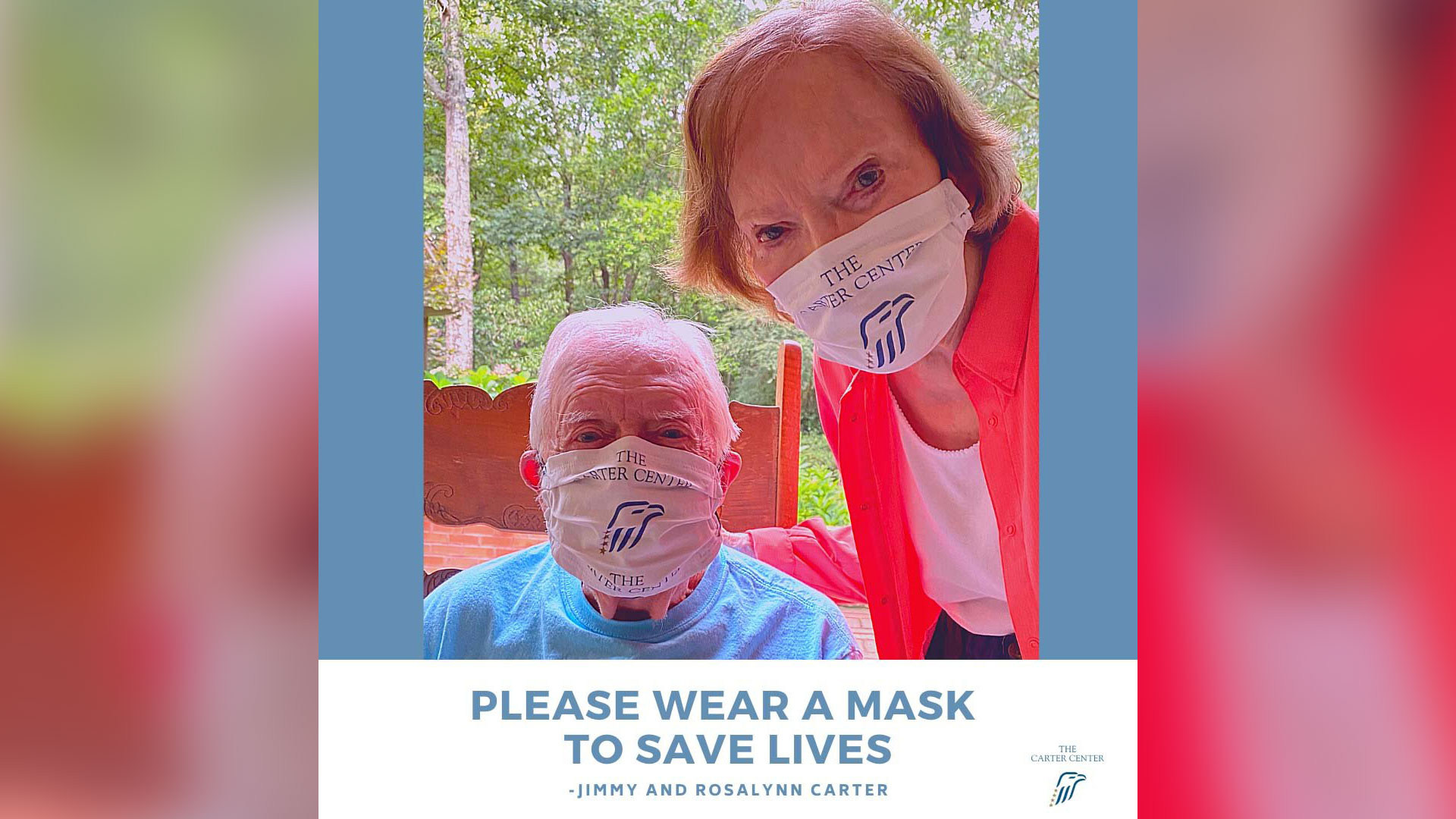 Jimmy and Rosalynn Carter pose in face masks and call on the public to save lives