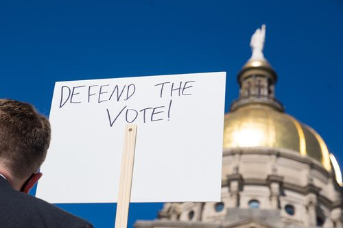 Image for Justice Department suing Georgia over voting restrictions