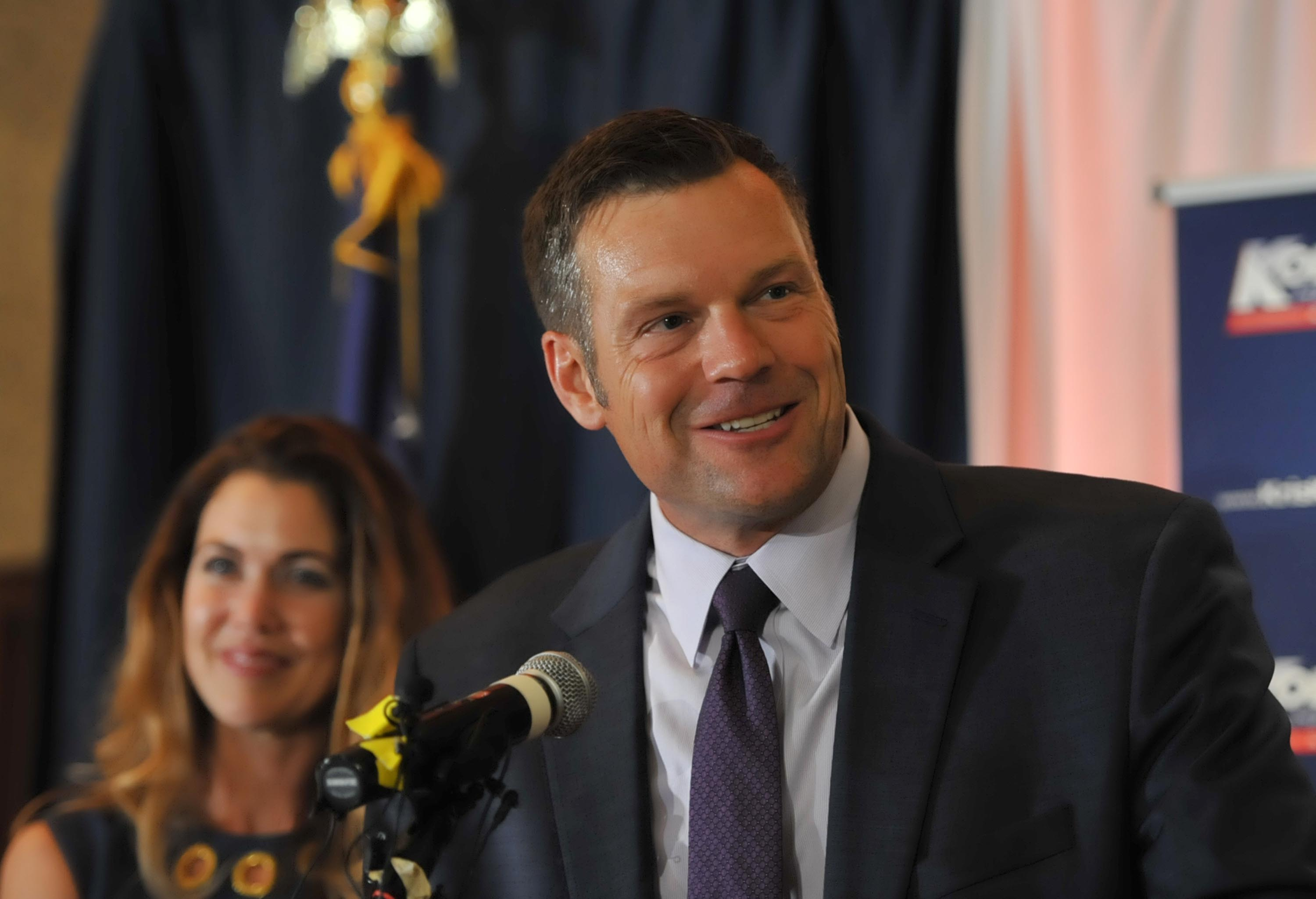 Democratic-allied group gives a boost to conservative Kobach in Kansas Senate primary