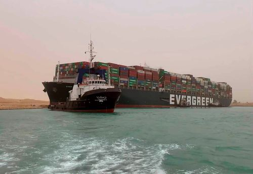 Image for US Navy plans to send assessment team to Suez Canal to assist with stuck container ship