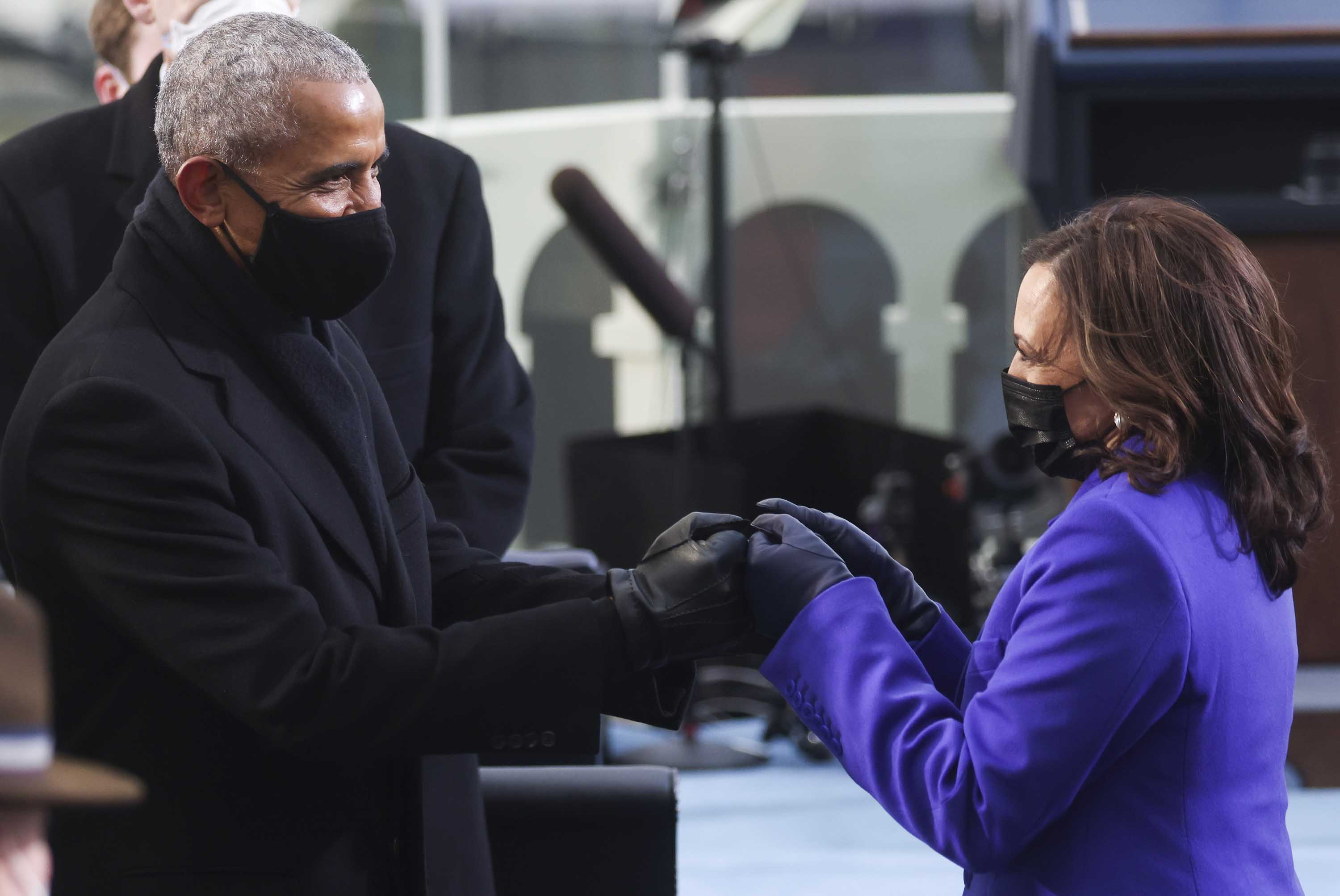 Obama and Harris share fist bump at inauguration in historic moment