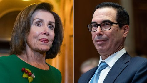 Image for Mnuchin and Pelosi no closer on stimulus even as they agree in principle to fund the government