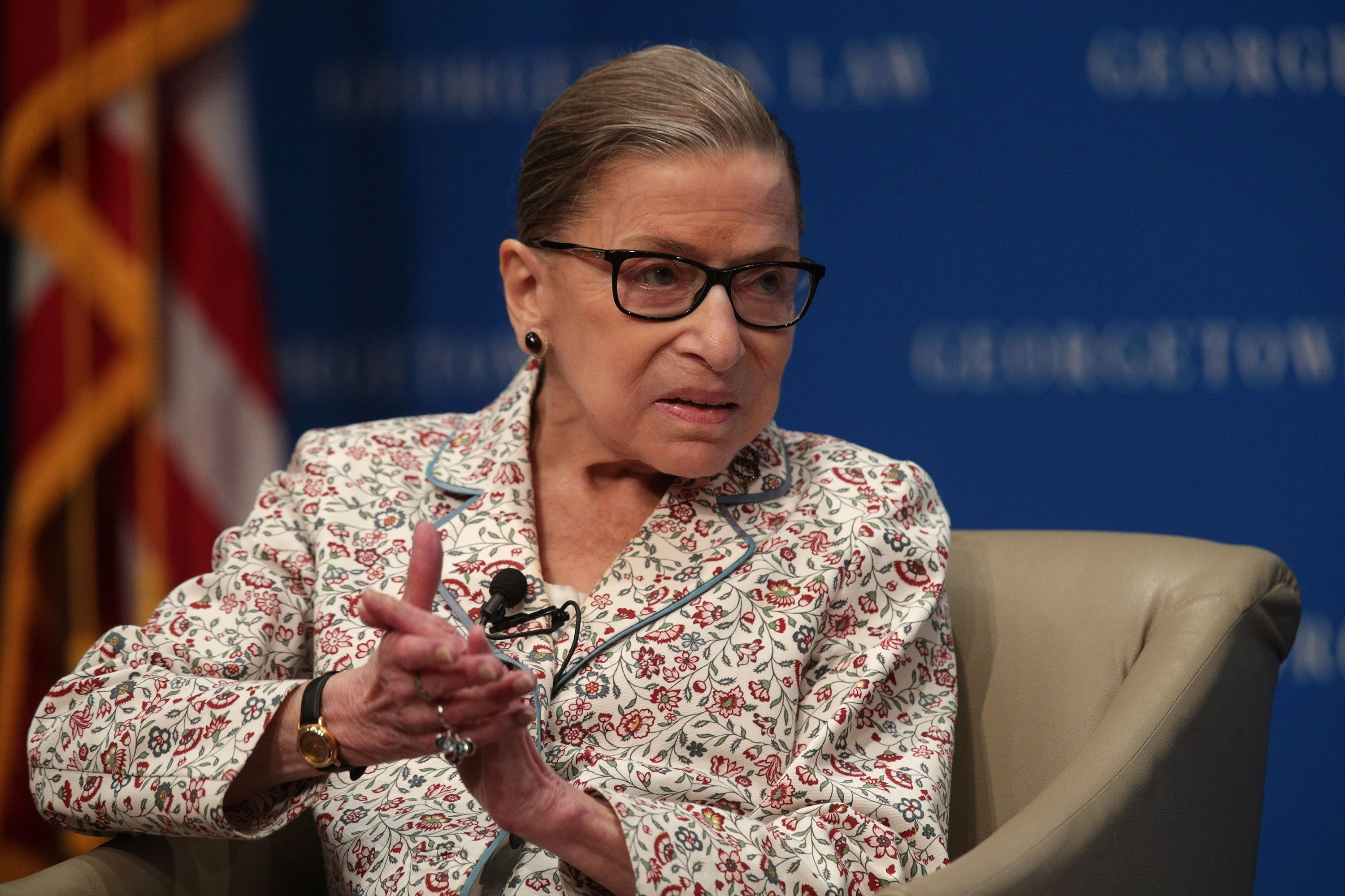 Ruth Bader Ginsburg back at work after stomach bug