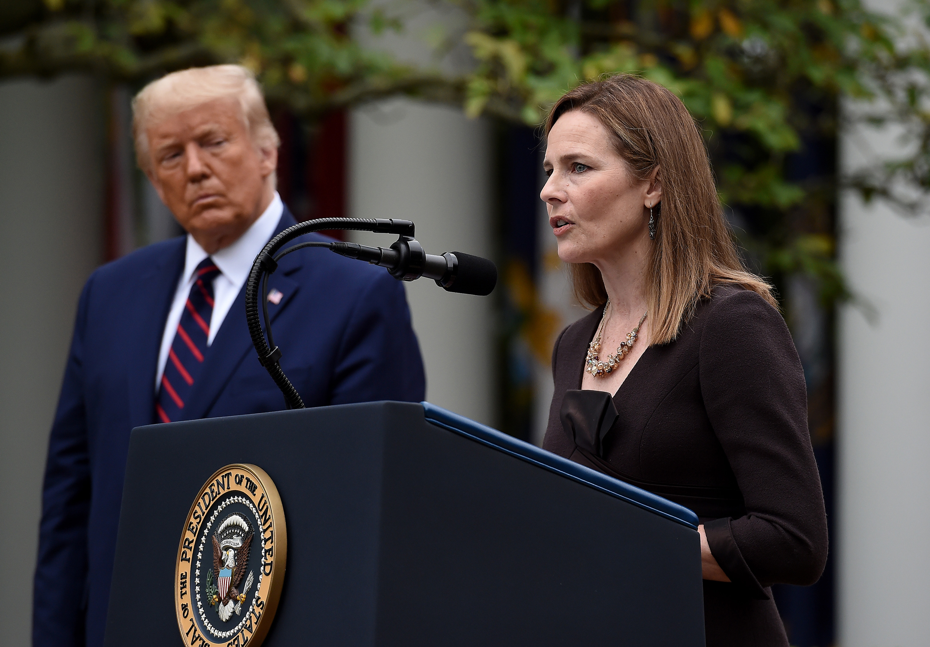 Trump says he did not discuss Roe v. Wade with Amy Coney Barrett