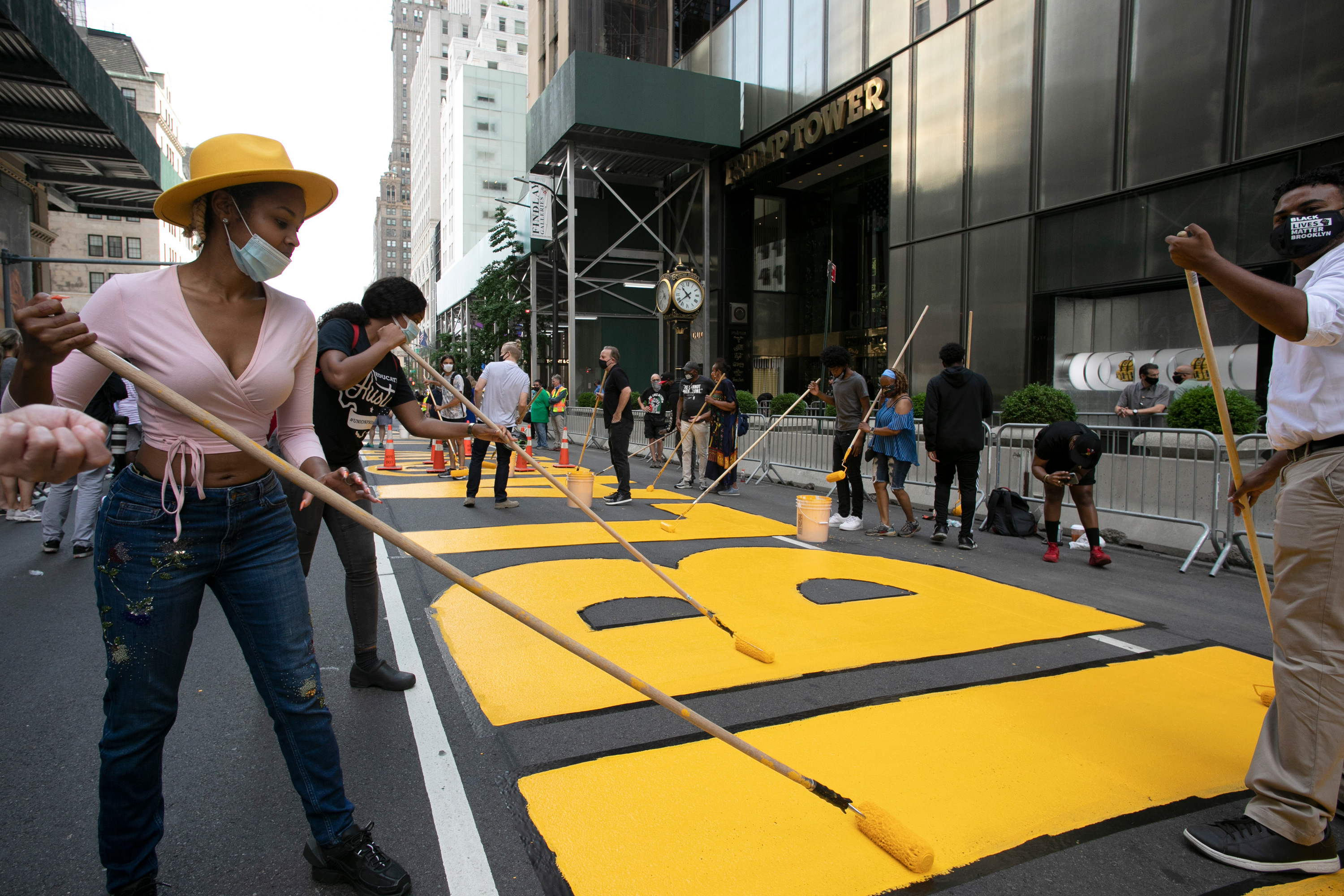 New York City paints Black Lives Matter mural outside Trump Tower in Manhattan