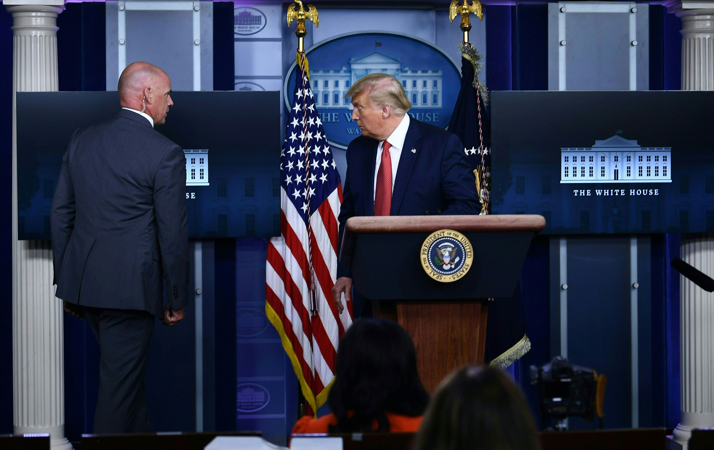 Trump briefly leaves press briefing after shooting near the White House