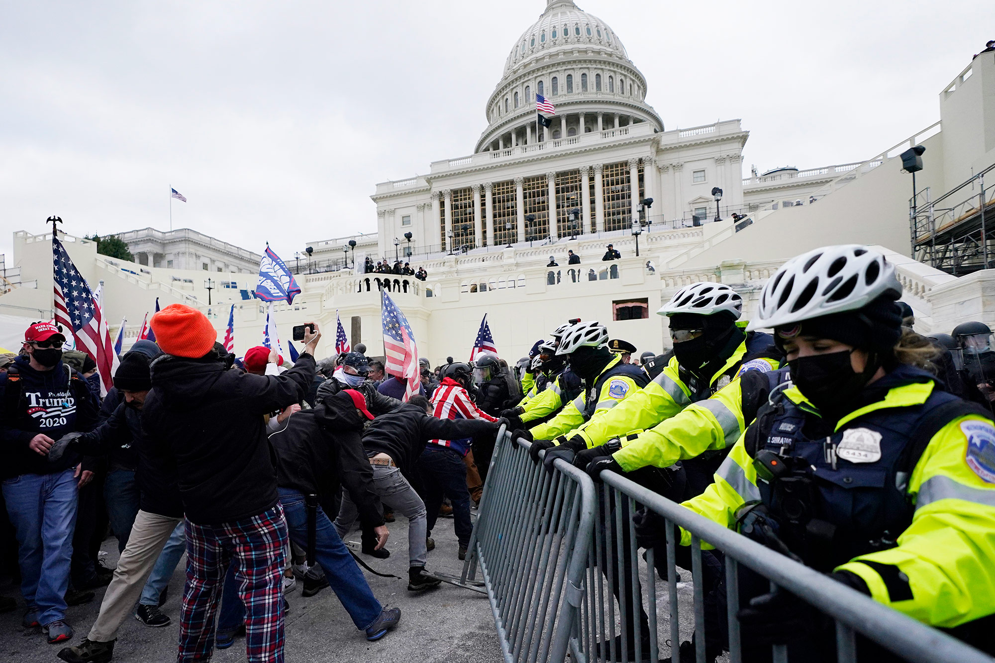 Image for Police clearing pro-Trump mob from US Capitol after rioters stormed halls of Congress