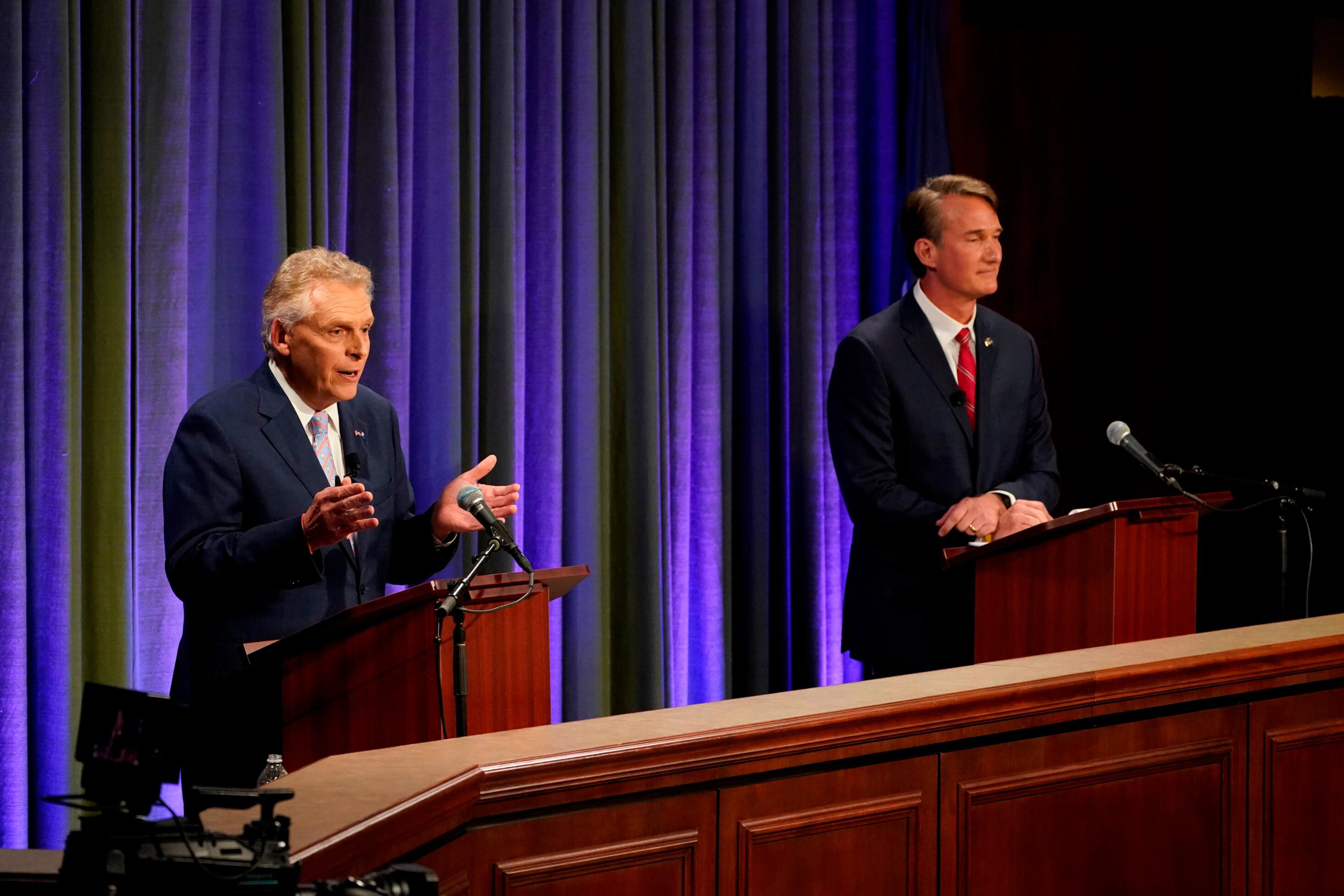 McAuliffe and Youngkin spar over Covid vaccine requirements in first Virginia debate