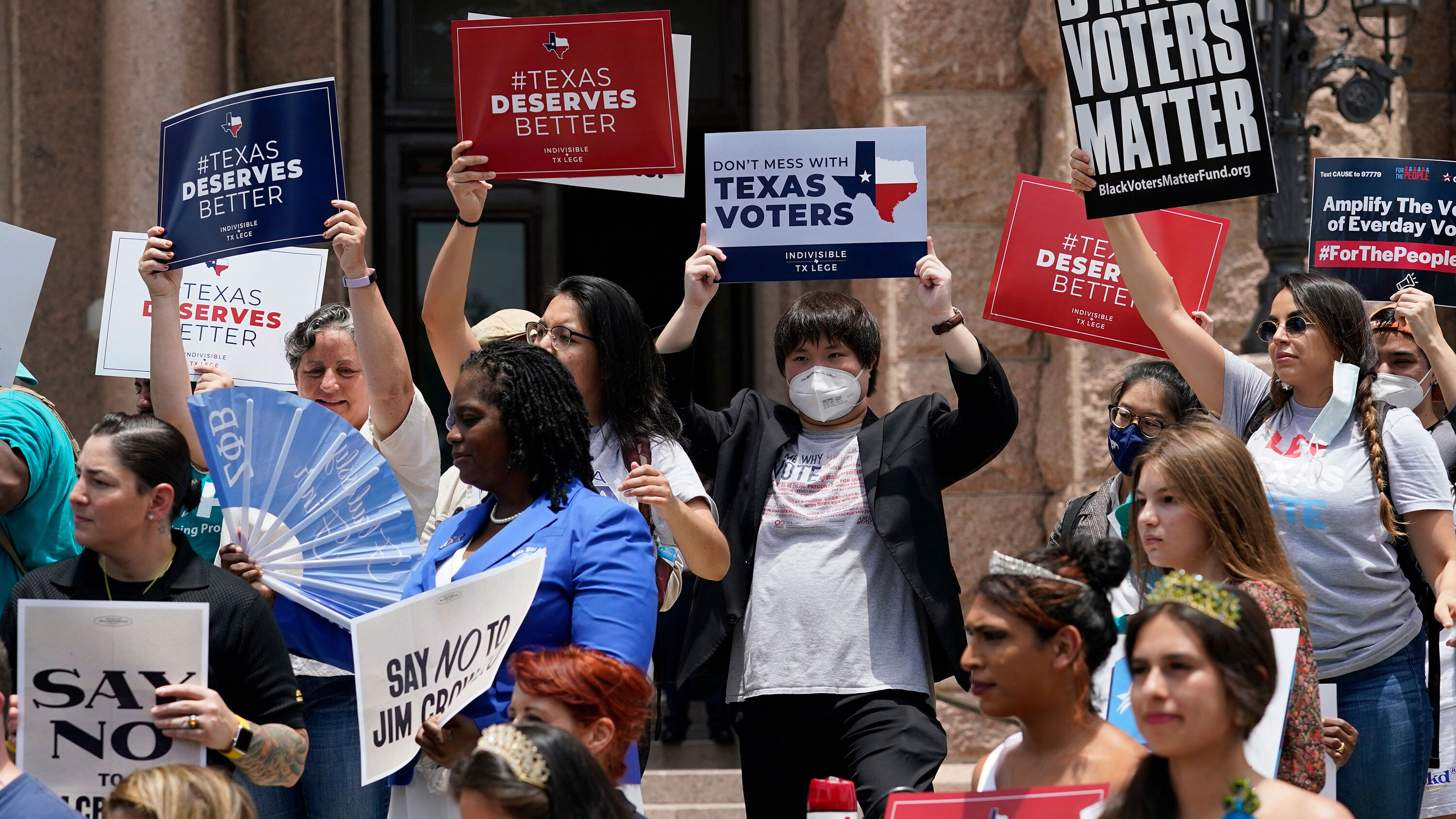 'Angry and affected': Young voters in Texas protest restrictive new voting laws