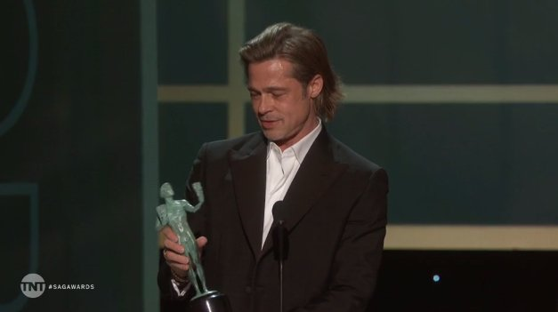 Brad Pitt jokes he's going to add SAG win to his 'Tinder profile'