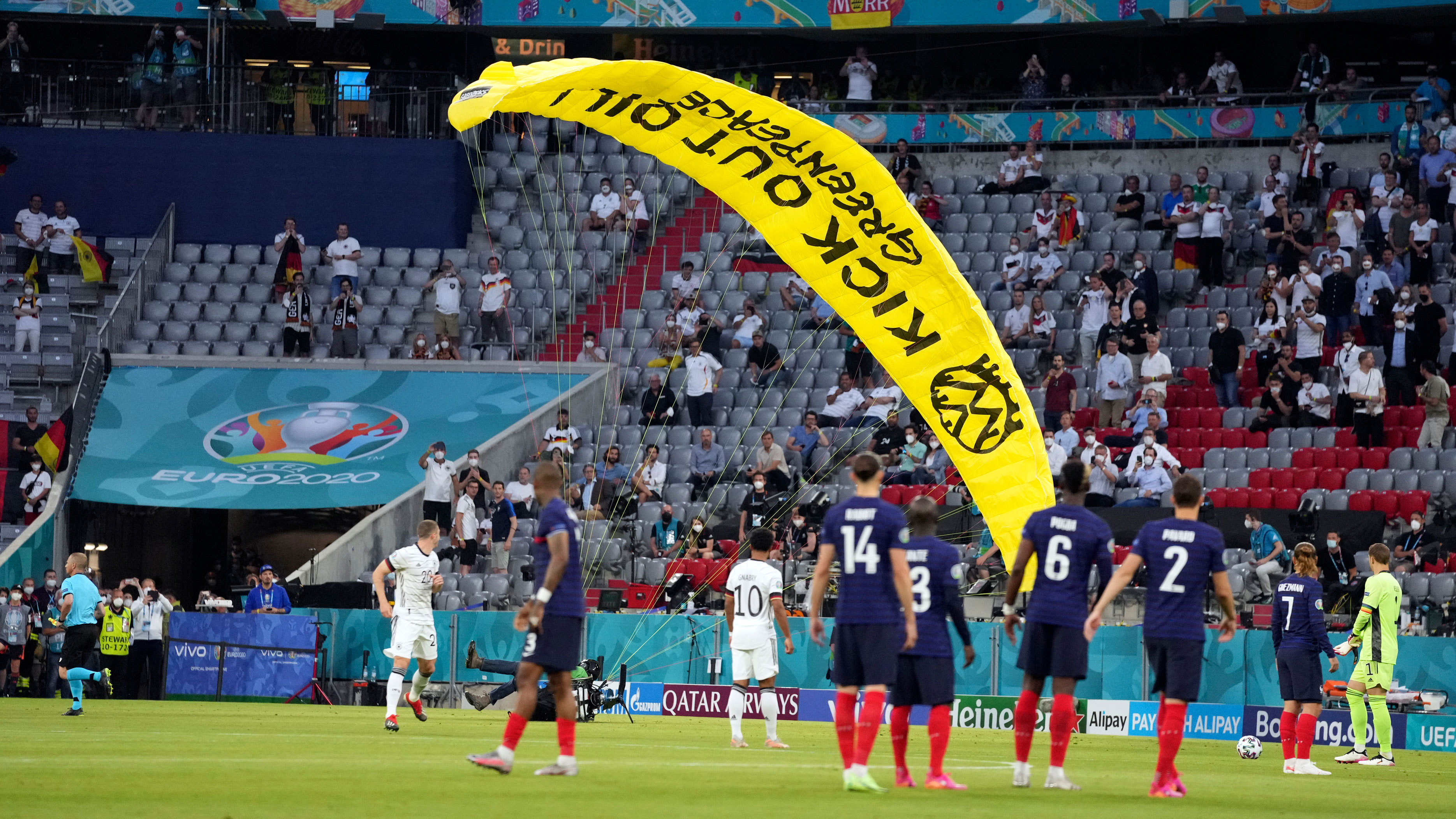 Germany vs. France: 'Kick out oil' protester parachutes into Allianz Arena stadium ahead of Euro 2020 match