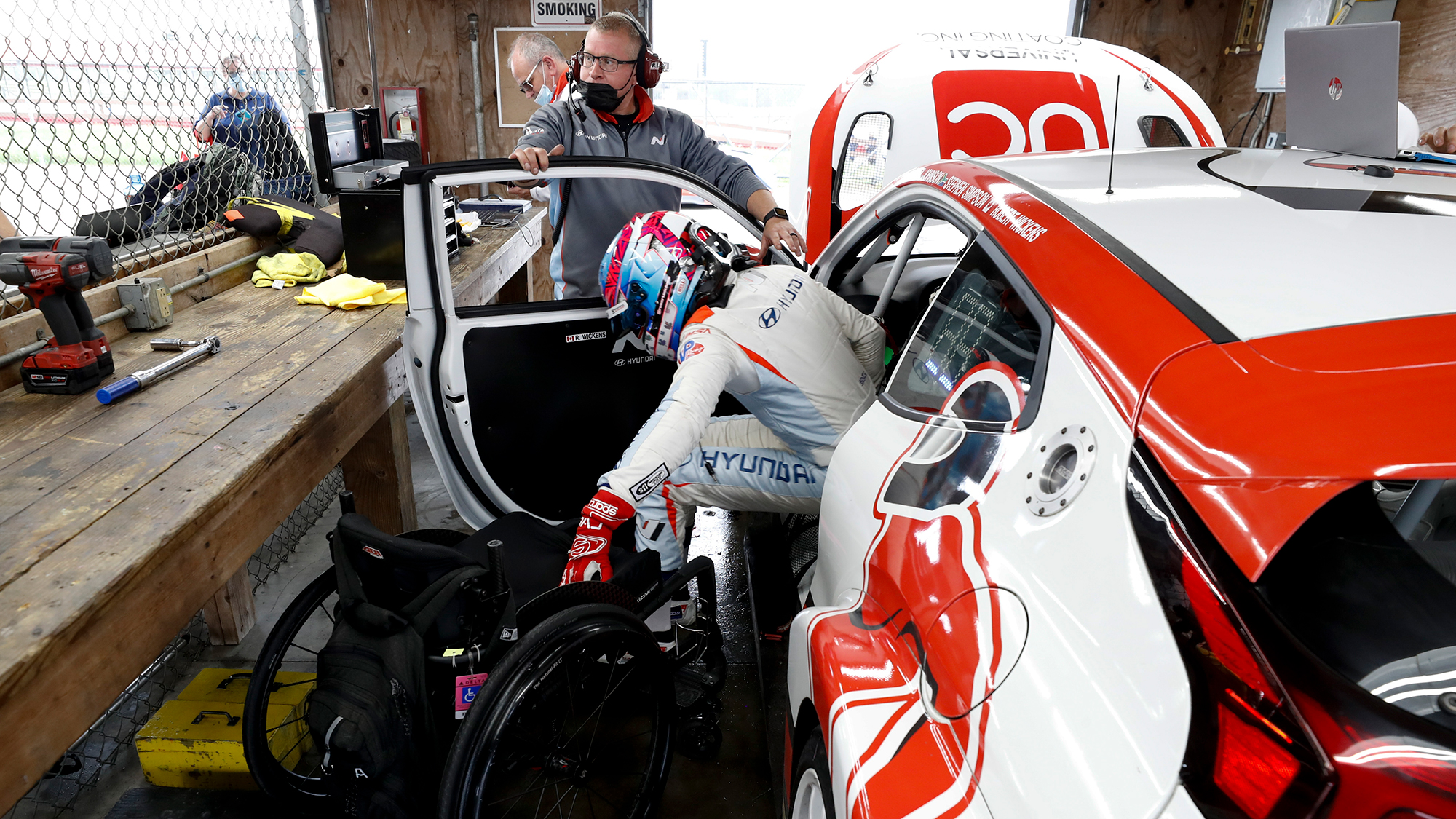 IndyCar driver Robert Wickens drives a race car for the first time since his paralyzing crash